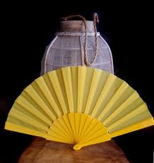 buy paper fans in bulk 9 yellow nylon hand fans for weddings 10 pack on sale now