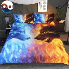 wolf bed set fire and ice wolf wolves 3d print bedding set shoppe lovers