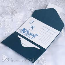 cheap vintage carriage blue pocket wedding invitations iwps081