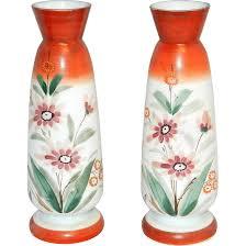 Hand Painted Vase Vintage Bristol Hand Blown Victorian Art Glass Hand Painted Vases
