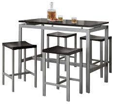 Black Atlus Counter Height Dining Set Silver Metal Table W Black - Counter height dining table in black