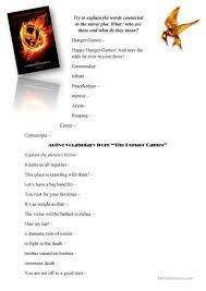 thanksgiving cloze 6 free esl hunger games worksheets