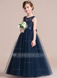 flower girl dress a line princess floor length flower girl dress satin tulle lace