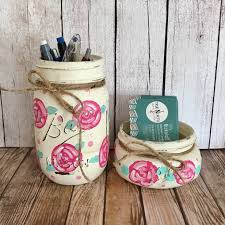 floral mason jar set office decor business card holder pen