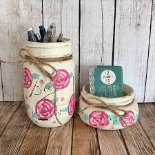 floral mason jar set office decor business card holder pen