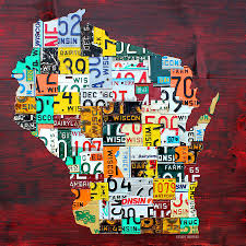 Wisconsin Counties Map by Counties Vintage Recycled License Plate Map Art On Red Barn Wood