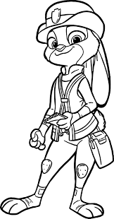 judy hopps police coloring page wecoloringpage