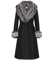 new prada fur trimmed wool coat black for women online sale