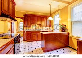 Kitchen Yellow Walls - wood kitchen yellow walls old american stock photo 163102328