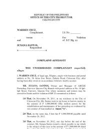 complaint affidavit bp22 cheque social institutions