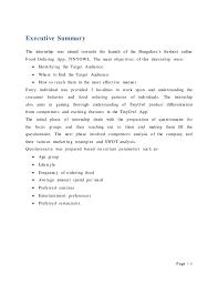 Summer Entertainment Internships - summer internship project report on online food app tinyowl