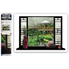 stickers livres trompe l oeil sticker mural 3d trompe l u0027oeil jardin japonais ou ambiance déco