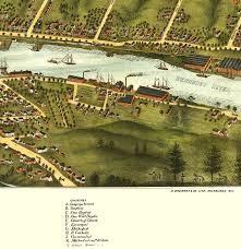 Bird View Map Gardiner And Pittston Maine In 1878 Bird U0027s Eye View Map Aerial