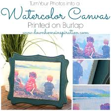 turn your photos into a watercolor canvas printed on burlap down