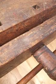 antique wood workbench diamonds rust