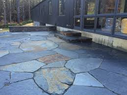 Slate Rock Patio by Goshen Stone Patio And Stairs Concrete Retaining Stem Wall With