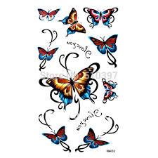 free ship 5pcs lot hm436 butterfly tattoos arm waist back