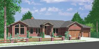 home plans with basements custom ranch house plan w daylight basement and rv garage