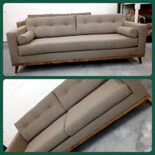 Tufted Modern Sofa by Mid Century Modern Sofa With Bolster Pillows And Danish Frame