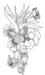 pictures of flowers and butterflies to color 13025