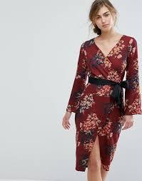 closet london closet london allover floral wrap pencil dress