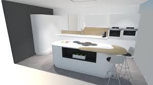 meuble cuisine arrondi cuisine moderne blanche avec îlot arrondi