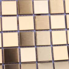 Decorative Kitchen Backsplash Tiles Mosaic Tile Gold Square Aluminum Metal Wall Decoration Kitchen