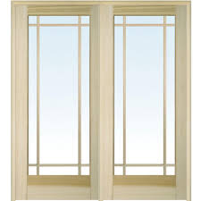 Prehung Double Interior Doors by Mmi Door 74 In X 81 75 In Classic Clear Glass 9 Lite Unfinished