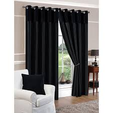 derwent faux silk fully lined black eyelet curtains