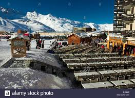 the resort centre at val thorens in the 3 valleys ski area of