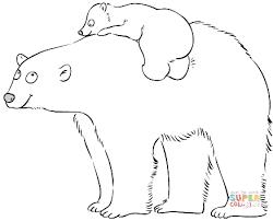 polar bear mother cute baby coloring free printable