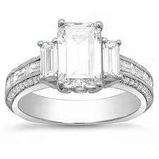 engagement rings with baguettes 3 42 ct emerald cut baguette engagement ring f