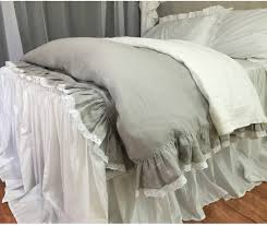 stone grey linen ruffle duvet cover with lace hem