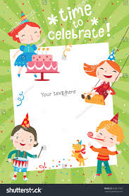 Christmas Invite Cards Children Having Fun Birthday Party Template Stock Vector 565817359