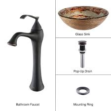Bronze Faucets For Bathroom by Bathroom Glass Vessel Sink And Faucet Combination Kraususa Com