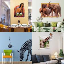 mixed style zebra horse elephant giraffe wall stickers 3d animal see larger image