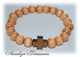 cross bracelet bead images Stretch wood cross bracelet in medium brown men 39 s jpg
