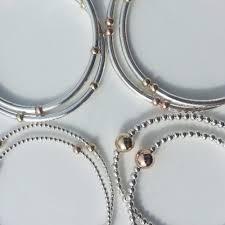 bracelet elastic silver images Layer stack stretch ball bracelet rose gold gold filled 925 jpg