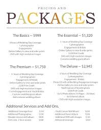 wedding packages prices wedding photography prices