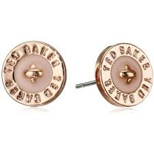 baker earrings ted baker tempany enamel logo button gold baby pink stu