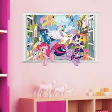 novo 3 cores diy 3d adesivos de parede da janela falsa my little