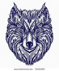 wolf tattoo native american style tshirt stock vector 753203287