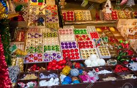 decorations for sale in christmas market munich germany stock