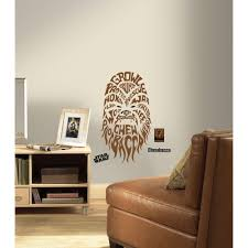 roommates 19 in multi color star wars typographic chewbacca peel