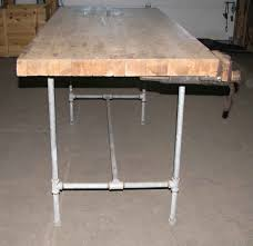 steel pipe frame work bench with butcher block top olde good things steel pipe frame work bench with butcher block top
