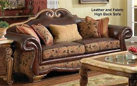 Leather And Upholstered Sofa Giovanna Brick High Back Leather And Fabric Sofa