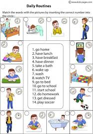 daily routines matching worksheets english pinterest daily