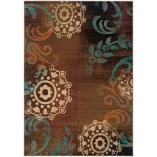 indoor brown teal area rug free shipping today overstock com