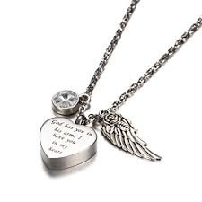 urn necklaces god has you in his arms with angel wing charm
