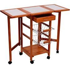 amazon com homcom portable rolling tile top drop leaf kitchen